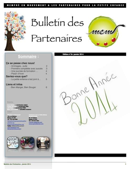 Bulletin des partenaires janvier 2014