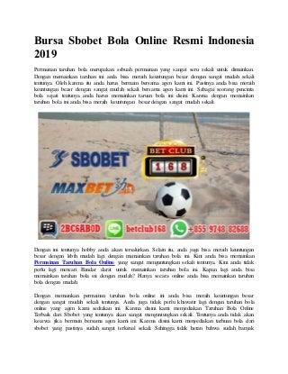 Bursa sbobet bola online resmi indonesia 2019