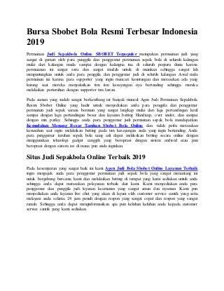 Bursa sbobet bola resmi terbesar indonesia 2019