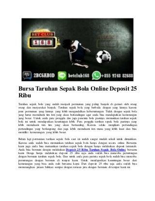 Bursa taruhan sepak bola online deposit 25 ribu