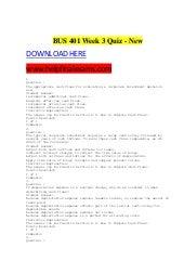 bus 599 week 3 quiz Lecture on bus 307 week 3 quiz allyslidecom  education  bus 307 week 3 quiz.