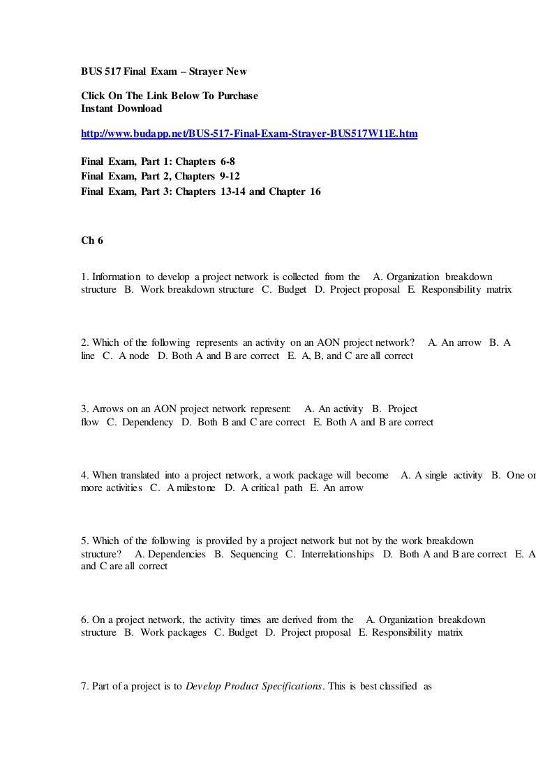 Bus 517 final exam – strayer new