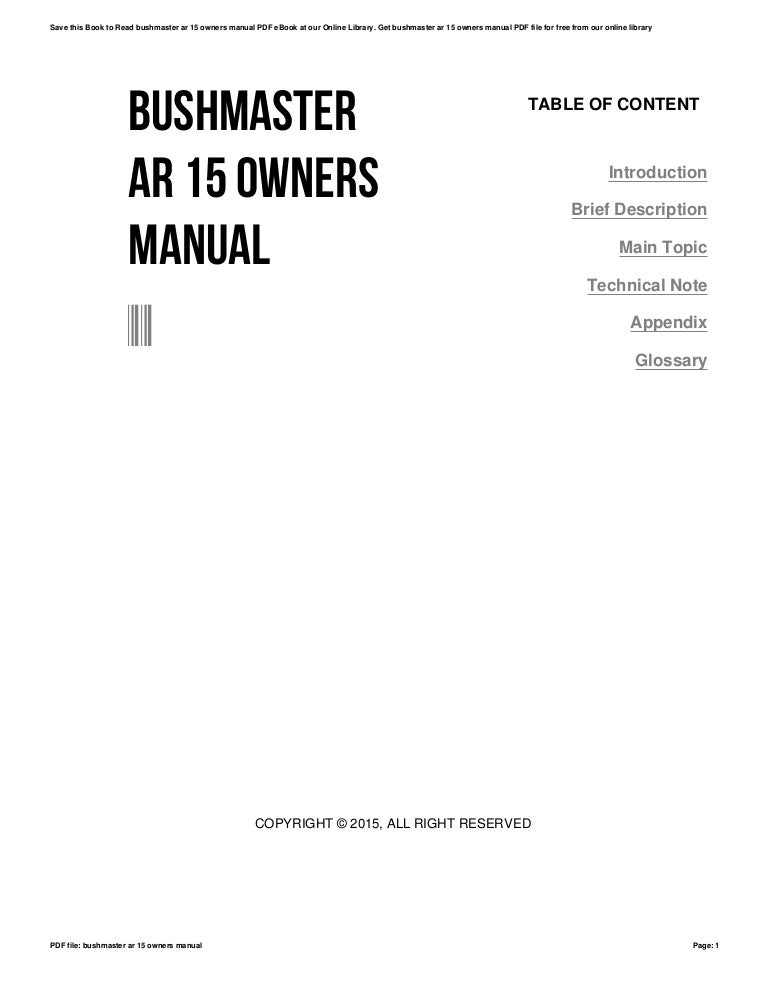 Bushmaster ar 15 owners manual