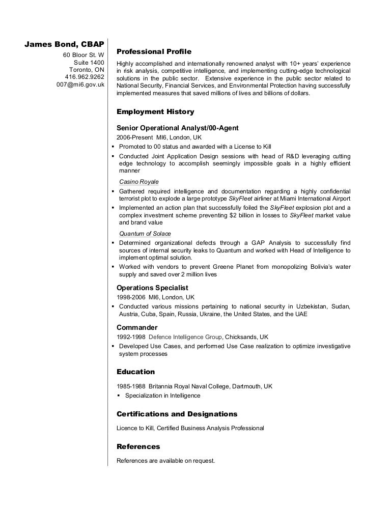 business analyst resume sample james bond - Business Profile Resume Sample