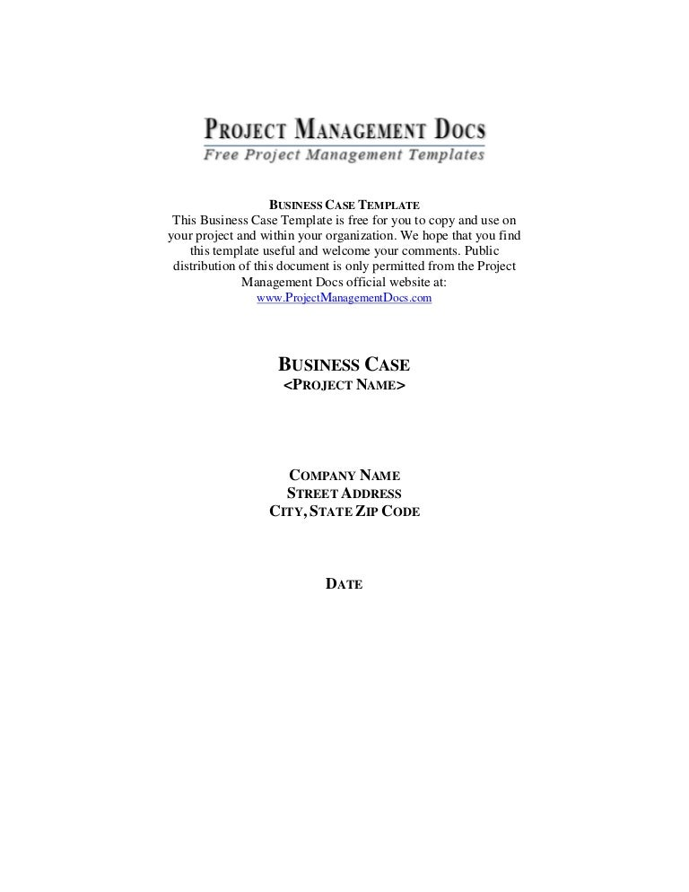 Business Case Document Template Vosvetenet – Business Case Templates Free