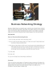 Business networking strategy