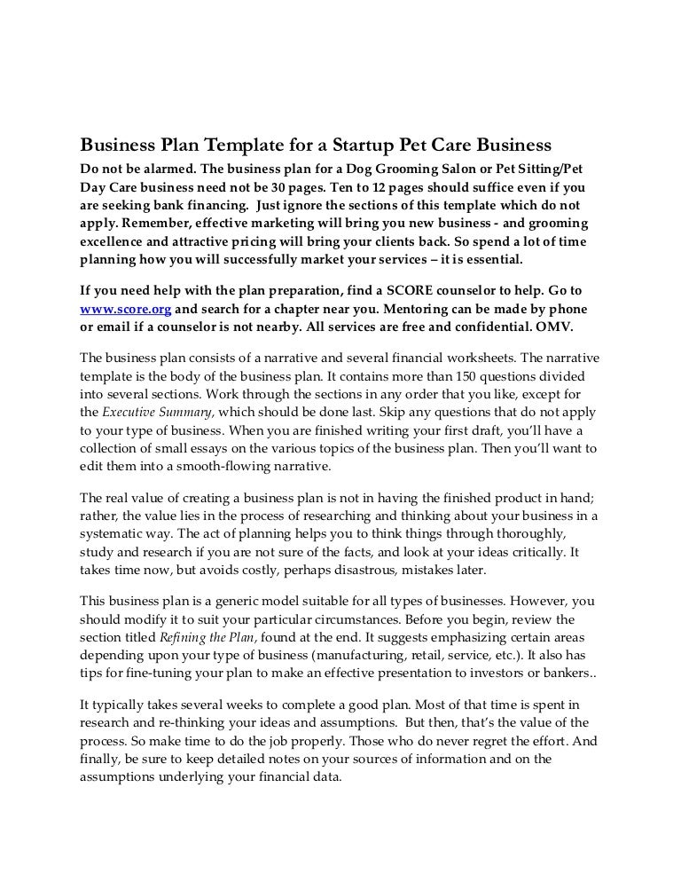 Business Plan Startup Pet Care Business 05252011