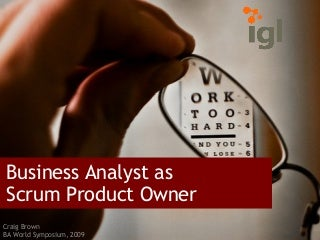 Business Analyst As Product Owner