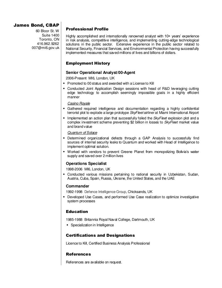 Business Analyst Resume Sample James Bond – It Business Analyst Resume Sample