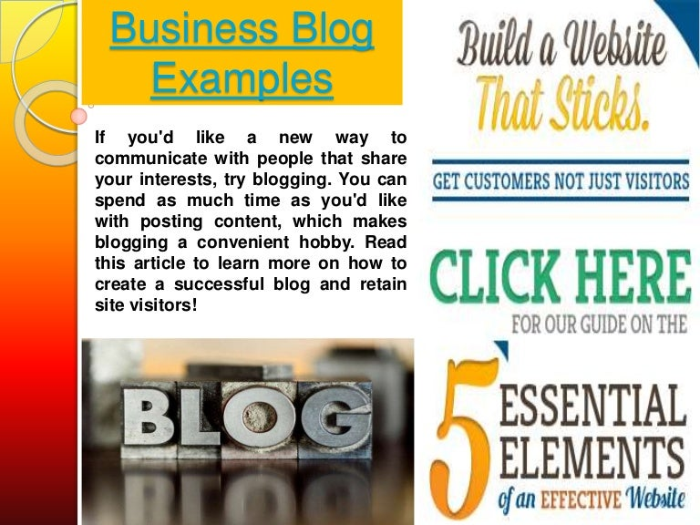 Business blogging examples.