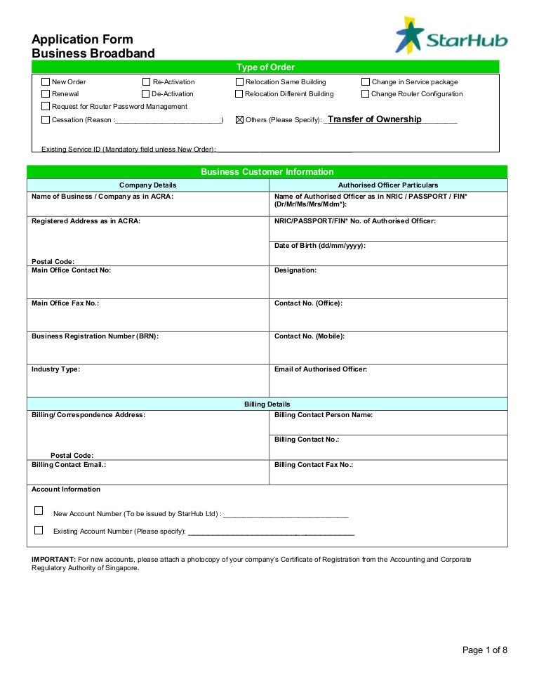 Business broadband application form – Business Application Form