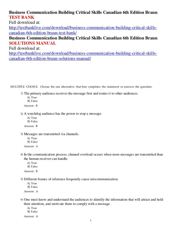 Business communication building critical skills canadian 6th