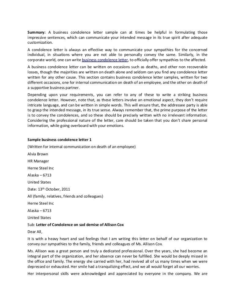 Business Condolence Letter