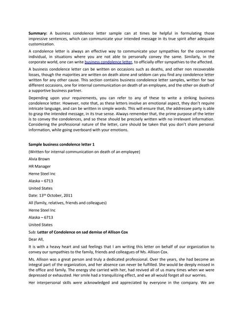 Sympathy Letter For Loss from cdn.slidesharecdn.com