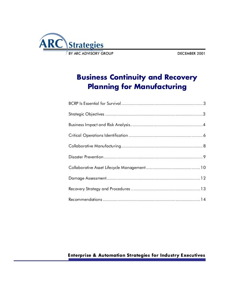 Business Continuity And Recovery Planning For Manufacturing