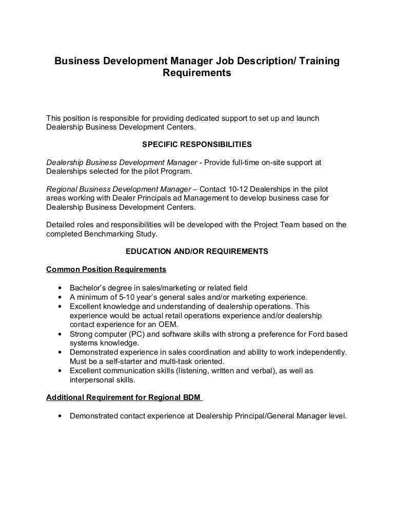 Business development manager job description ford