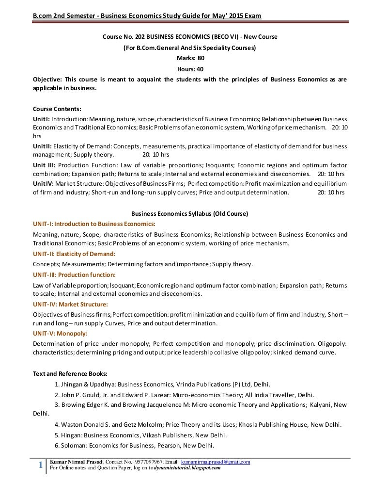 Dibrugarh University - Business Economics Study Guide