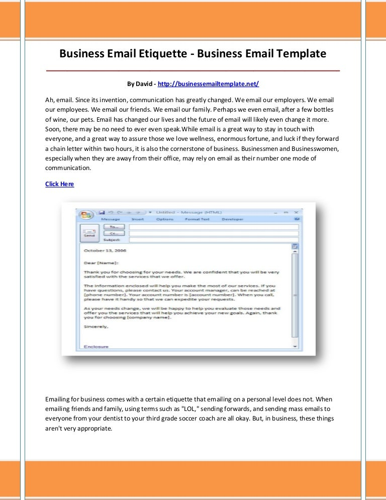 Business email template
