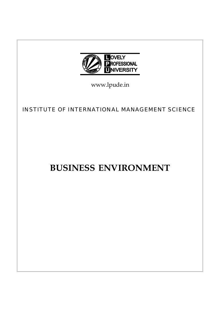 Business environment dmgt401 e book
