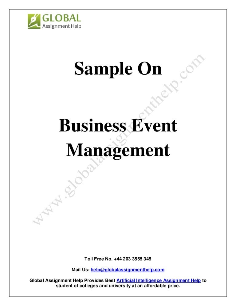 Sample Report On Business Event Management By Experts