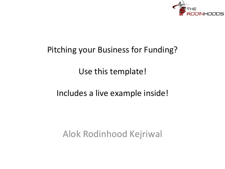 A ready to use template for pitching your business for funding with wajeb