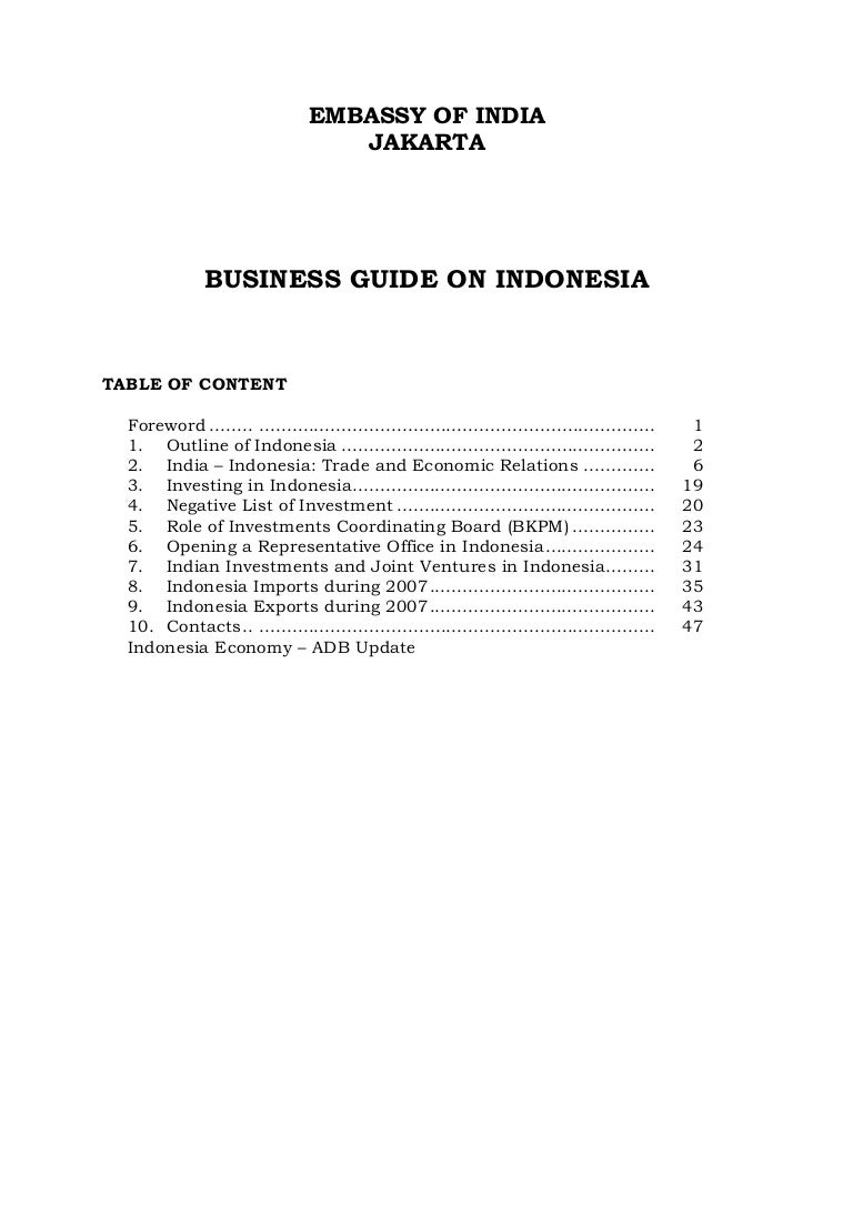 Business Guide on Indonesia by Embassy of Indian in Jakarta