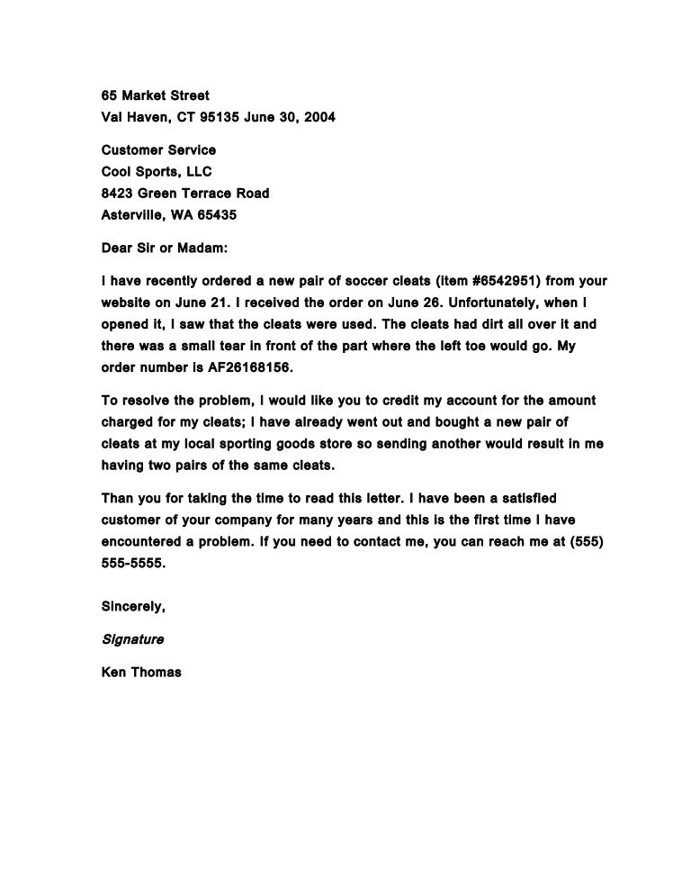 Business Letter Of Complaint  Cover Letter Sample