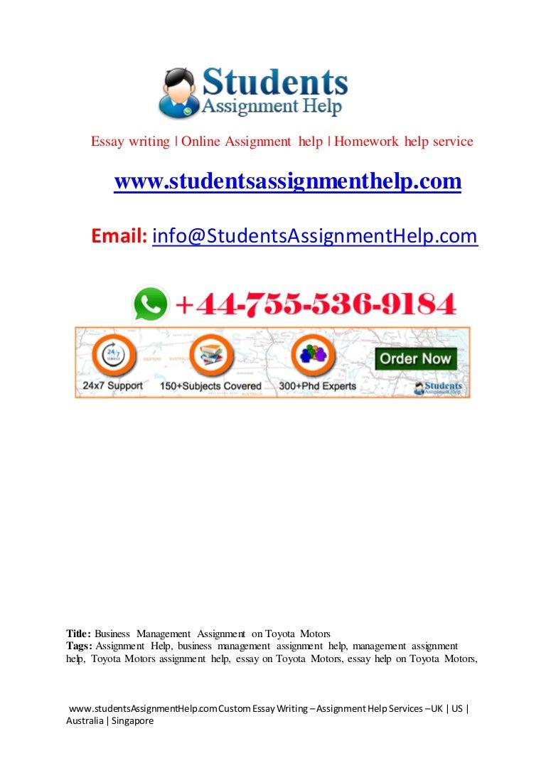 business management assignment on toyota motorss