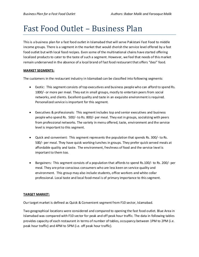 Vision of restaurant business plan