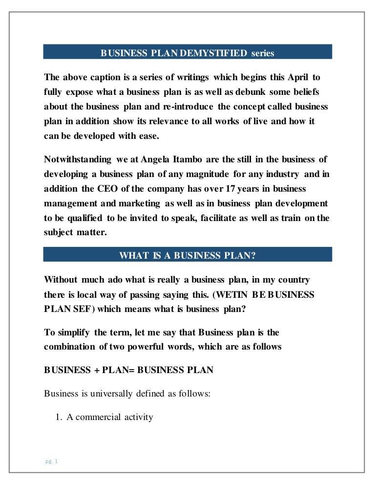 Business Plan Demystified Series