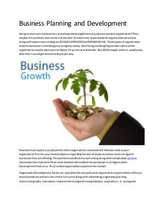 Business planning and development