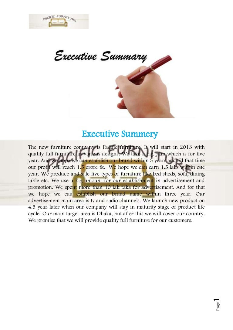 Business plan sample on furniture madrichimfo Gallery