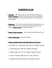 PlasticManufacturing Business Plan INTRODUCTION