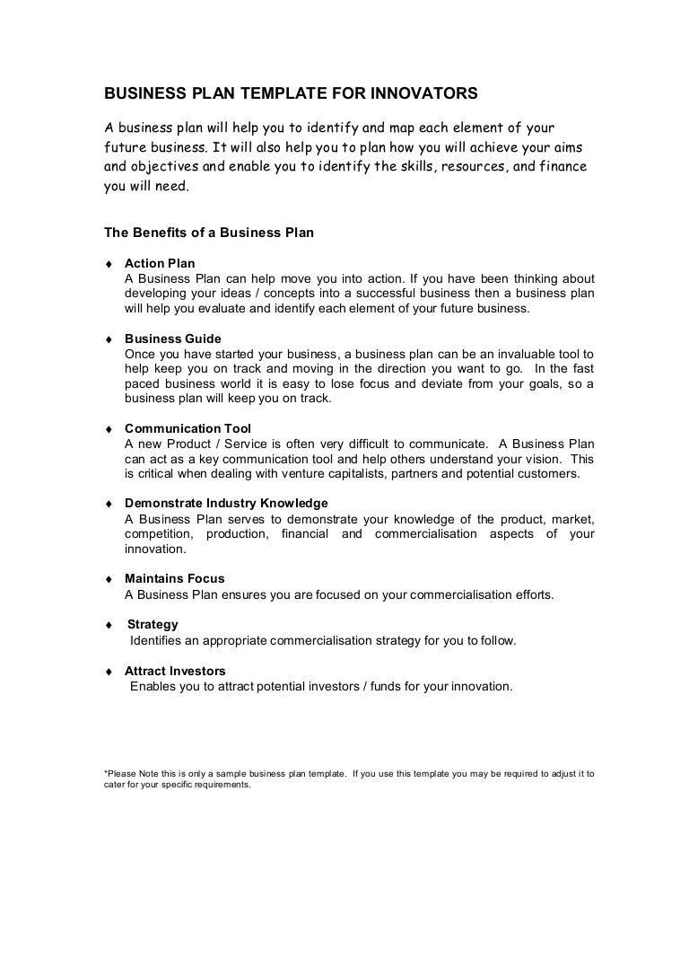Business plan template – Sample Business Action Plan