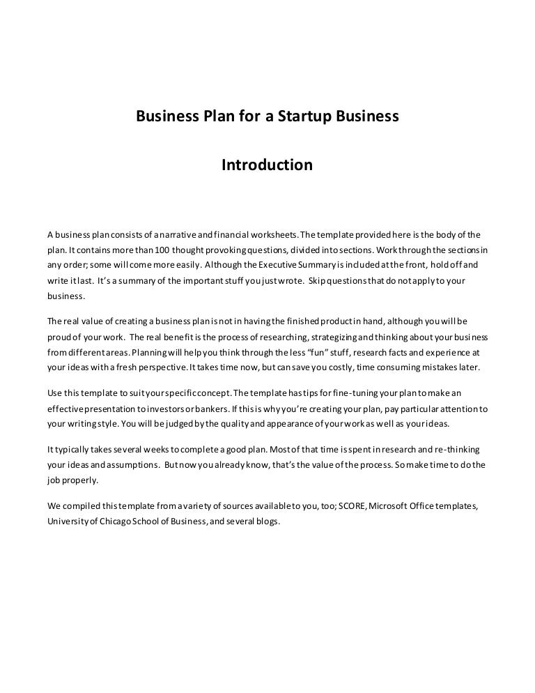 Business Plan Template I