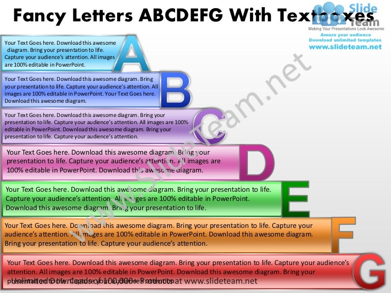 business power point templates fancy letters abcdefg with textboxes s