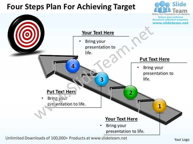 Business power point templates four steps plan for achieving target s toneelgroepblik Gallery