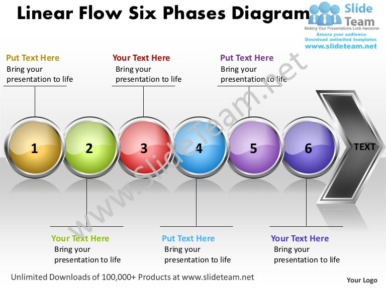 Business Power Point Templates Linear Flow Six Phases Diagram Free Sa