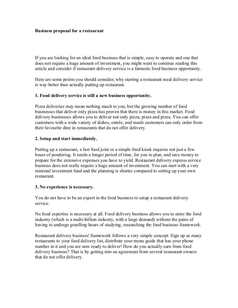 Business proposal for a restaurant