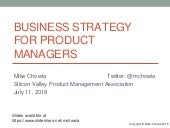Business Strategy for Product Managers  - SVPMA July 2018