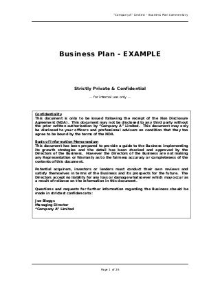Business Plan Sample - Great Example For Anyone Writing a Business Plan