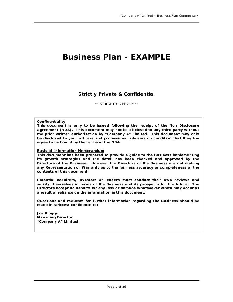 examples of well written business plans