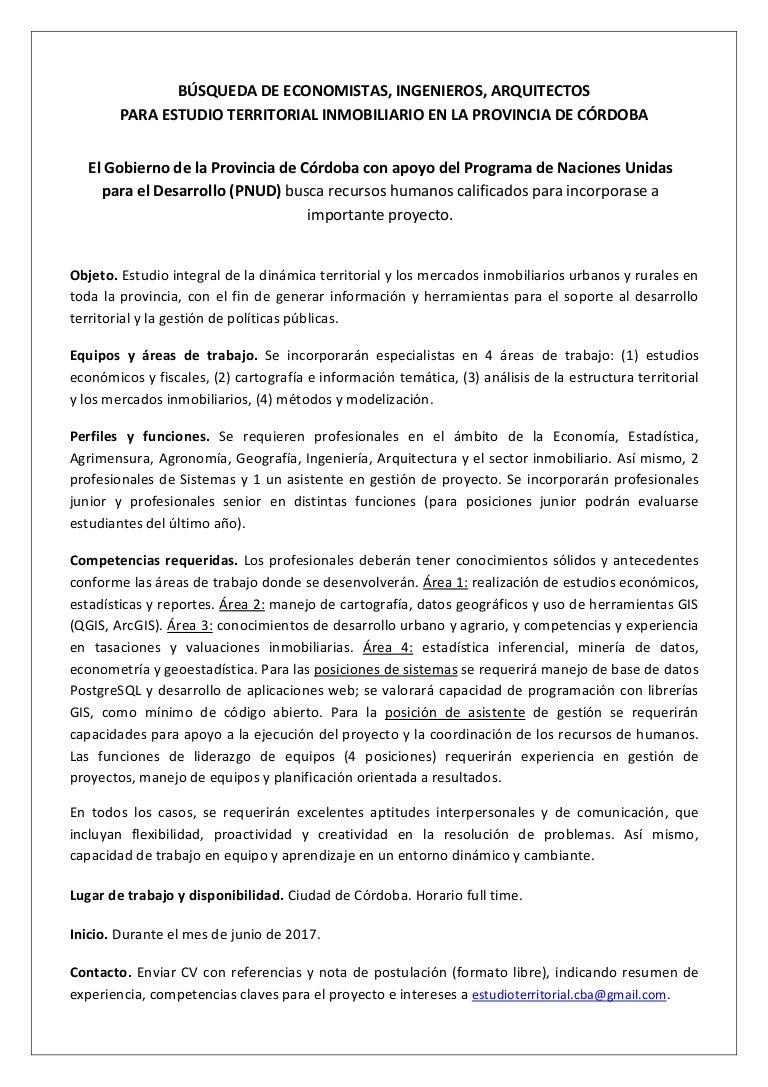 BÚSQUEDA DE PROFESIONALES PARA ESTUDIO TERRITORIAL INMOBILIARIO EN CÓ…