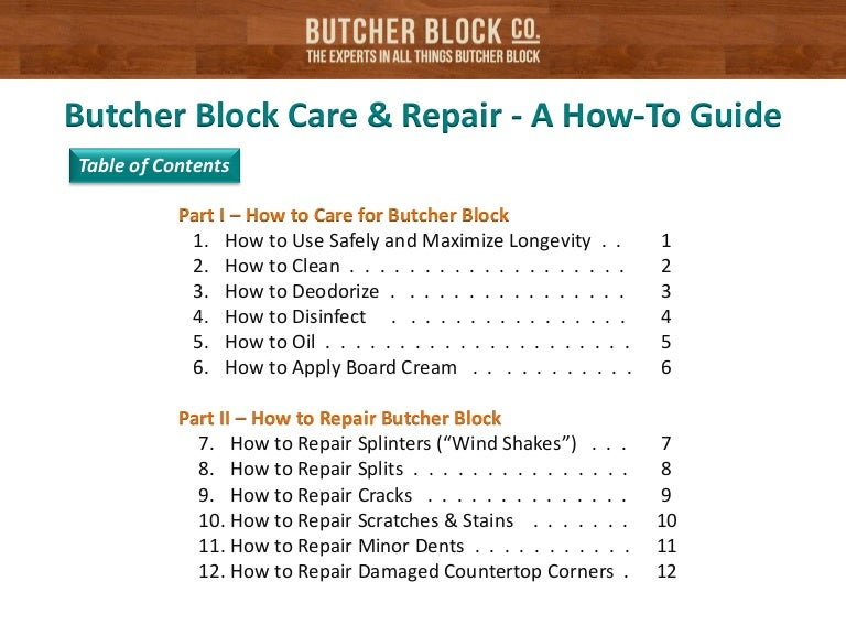 Care Of Butcher Block Part - 43: SlideShare