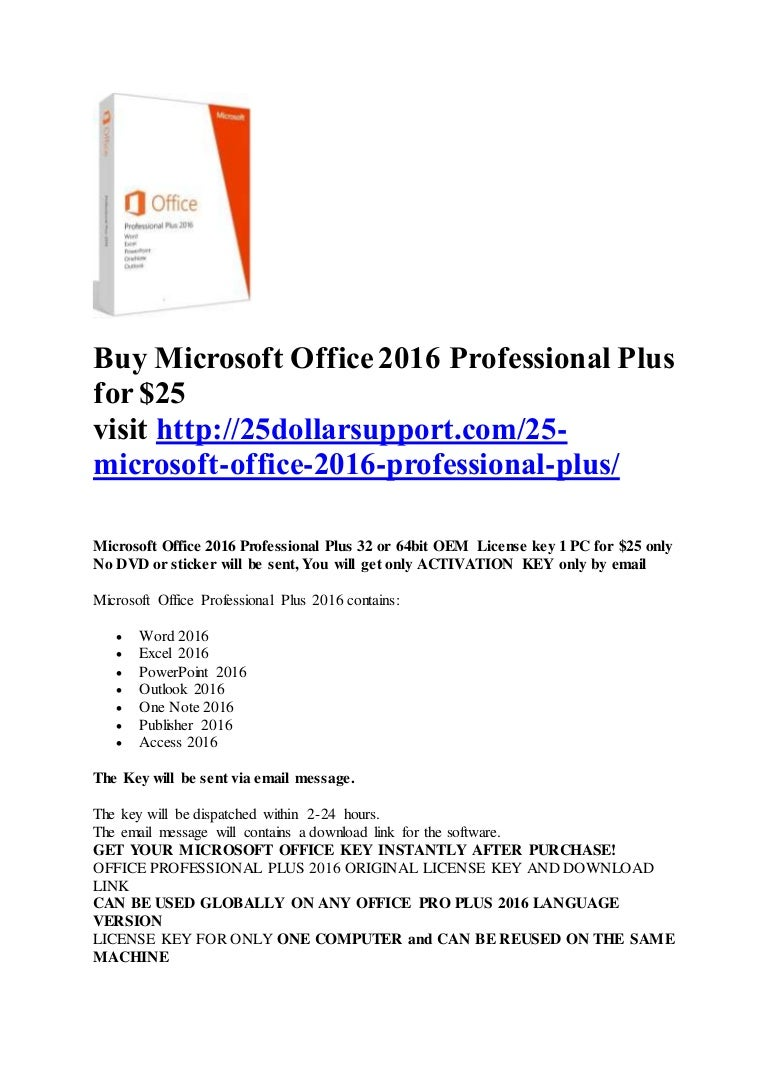 Buy Microsoft Office 2016 Professional Plus For Pro