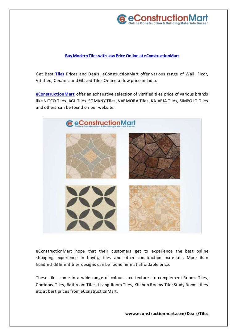 Buy Modern Tiles With Low Price Online At E Constructionmart