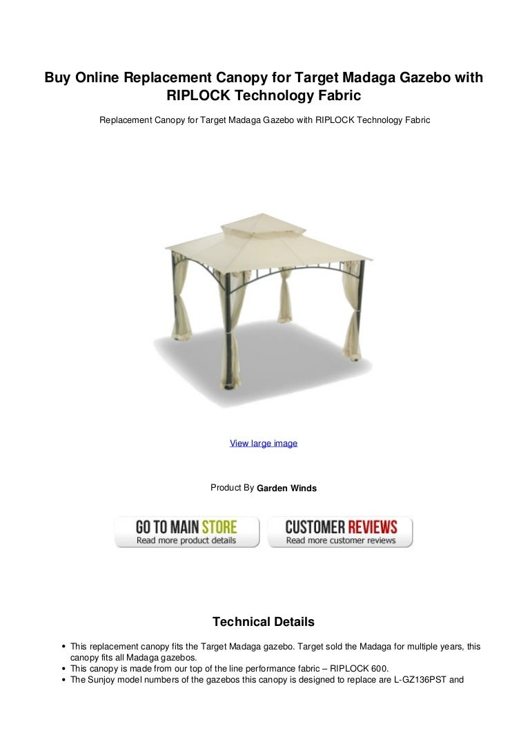 sc 1 st  SlideShare & Buy Online Replacement Canopy for Target Madaga Gazebo with RIPLOCK Tu2026