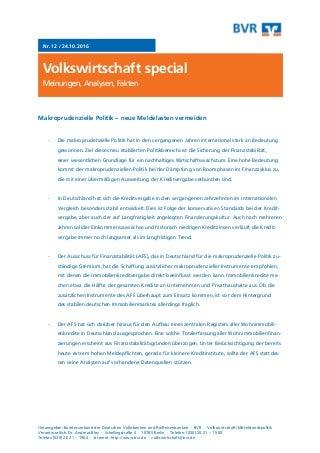 BVR Volkswirtschaft special: Makroprudenzielle Politik - neue Meldelasten vermeiden