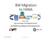 BW Migration to HANA Part 3 - Post-processing on the Migrated System