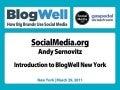 BlogWell New York Introduction, presented by Andy Sernovitz